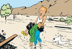 Tintin sauve Tchang de la noyade - Yang tse