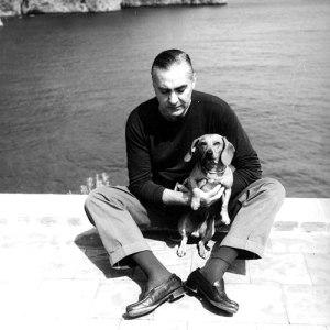 Curzio Malaparte et son chien - Terrasse de la Villa Malaparte - Capri