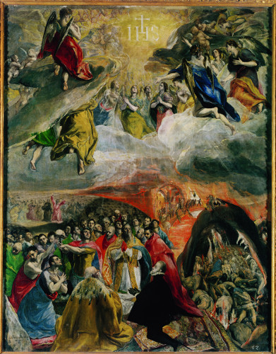 Le Greco - le rêve de philippe II- Renaissance et rêve -Greco, El (1541-1614): The Dream of Philip II. El Escorial, Monastery